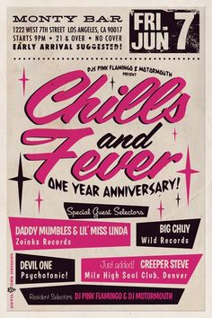 Special Friday night happening tonight at Monty! DJ's Pink Flamingo & Motormouth bring a slew of fine DJ's to celebrate the year anniversary of Chills & Fever! At 9, no cover! Yew! #DTLA