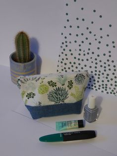 Succulent Pouch  Make-up / Pencil Case by Franceslikes on Etsy