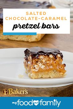 Salted Chocolate-Caramel Pretzel Bars – Salt and caramel is a flavor duo that can't be beat! Taste the delicious flavors of KRAFT Caramels, pretzel twists, and BAKER'S Semi-Sweet Chocolate in this delicious dessert recipe. Candy Recipes, Baking Recipes, Sweet Recipes, Cookie Recipes, Dessert Recipes, Bar Recipes, Dessert Ideas, Recipies, 13 Desserts