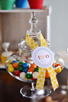 Could do this with smarties or m&m's and spotty ribbon