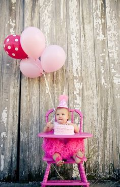Mac's 1st Birthday Pictures - Pink High Chair