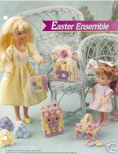 Plastic Canvas Fashion Doll Pattern EASTER ENSEMBLE ~ Tote, Basket, Egg + #AnniesFashionDollClub