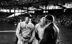 Michael Rougier—Time & Life Pictures/Getty ImagesAfter umpire William Grieve issues a walk to a Washington pinch-hitter, Red Sox manager Joe McCarthy and catcher Birdie Tebbetts express their doubts about Grieve's judgment, 1949.