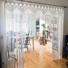 Macrame Curtain, Boho Curtains, Rustic Curtains, Curtains Living, Hanging Curtains, Panel Curtains, Hanging Room Dividers, Yellow Curtains, Country Curtains
