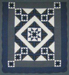 Custom Amish Quilts - Log Cabin Star Navy Grey