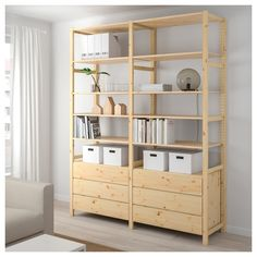 IKEA - IVAR, 2 sections/shelves/chest, pine, Untreated solid wood is a durable natural material which is even more hardwearing and easy to look after if you oil or wax the surface. You can move shelves and adapt spacing to suit your needs. Ivar Regal, Drawer Shelves, Shelving Units, Ikea Ivar Shelves, Salon Shelves, Ivar Ikea Hack, Ikea Family, Shelves In Bedroom, Painted Furniture