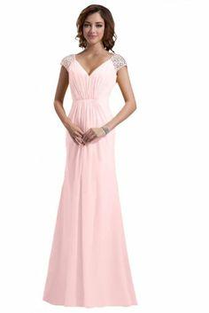 Emma Y New Double V-neck Bridesmaid Gown