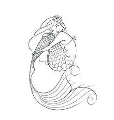Mermaid fairy-tale character vector 1295609 - by aleksangel on VectorStock®