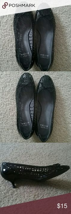 Stuart Weitzman black kitten heels 1 inch black kitten heels from Stuart Weitzman. Size 7 narrow but would probably fit a 6 1/2 more comfortably.  Impeccable condition,  barely worn. Stuart Weitzman Shoes Heels