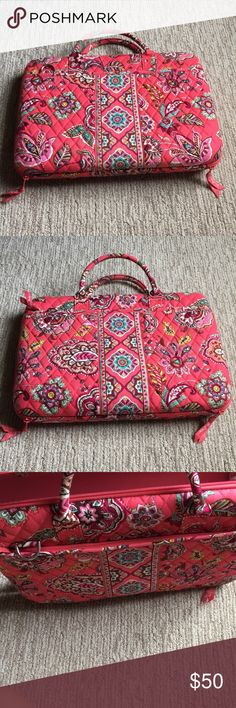 VERA BRADLEY Pink Laptop Case Barley used   Zippered pocket on one side   No stains  Metal hooks for a longer strap.   Strap not included  Width is 15 inches  Length is about 10.5 inches   There is an velcro plastic bar to make sure your laptop fits Vera Bradley Other