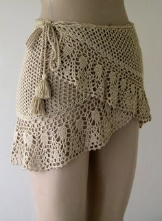 crochet cover up camels hair color cover up crochet pareo women pareo wrap cover mini skirt beach wear ! Crochet Skirt Pattern, Crochet Skirts, Crochet Clothes, Crochet Cover Up, Knit Crochet, Crochet Sweaters, Crochet Summer, Crochet Hair, Crochet Flower