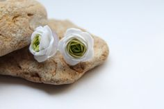Green and White flowers Ranunculus stud earrings, free shipping