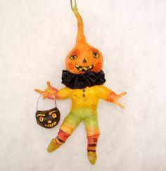 Spun cotton pumpkin man ornament Candy corn Jack a OOAK vintage craft by jejemae,