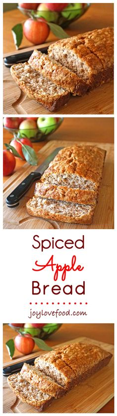 Spiced Apple Bread – this delicious, subtly spiced apple bread is the perfect autumn treat, enjoy a slice or two with a cup of coffee in the morning or anytime you're craving a little something sweet. (cake in a cup coconut flour) Apple Recipes, Fall Recipes, Baking Recipes, Dessert Recipes, Desserts, Apple Bread, Spiced Apples, Fall Treats, Sweet Bread