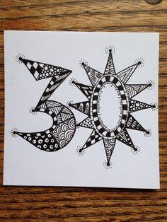 Zentangle 30th birthday card