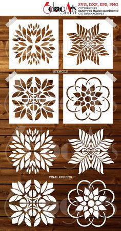 Stencil Templates, Stencil Patterns, Stencil Art, Stencil Designs, Kirigami, Deco Cuir, Cricut, Cutting Edge Stencils, Craft Projects