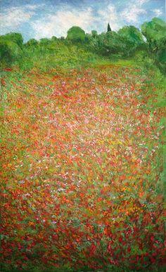 Cuadro al oleo de flores de estilo impresionista de un paisaje de flores. Un cuadro de gran formato de flores en primavera pintado por Rubén de Luis.