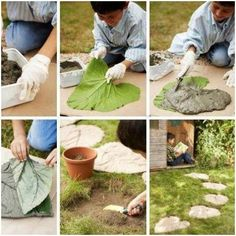 Camino de cemento con forma de hojas