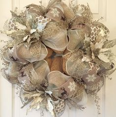 Ivory and Gold Poinsettia Christmas Wreath; Christmas Decor; Holiday Decor; Handmade Wreath; Vintage Christmas Decor by ChewsieCreations on Etsy