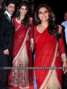 Thankar Red & Cream Thread Work Georgette Half And Half Bollywood Designer Saree Bollywood Sarees Online on Shimply.com