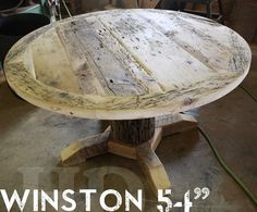 54 Inch Round Pedestal Reclaimed Wood Furniture with epoxy finish Cedar Hydro Pole base
