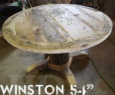 54 Inch Round Pedestal Reclaimed Wood Furniture with epoxy finish Cedar Hydro Pole base