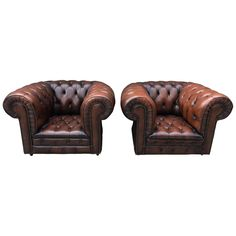 Vintage Pair of Leather Chesterfield Club Armchair   From a unique collection of antique and modern club chairs at https://www.1stdibs.com/furniture/seating/club-chairs/