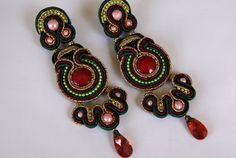 Soutache Ear Clips  Fairy Tales of the Orient by BeadsRainbow, $99.00