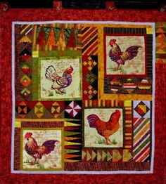 Les Coqs, chicken quilt