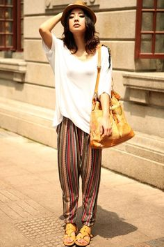 Harem pants crafted in cotton, featuring striped, polka dot, all kinds of print.$54