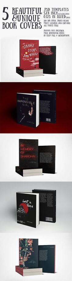 5 Beautiful and Unique Book Covers for print or digital