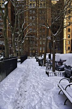 Snowy street in Manhattan