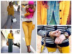 Фото ярких комплектов mustard color