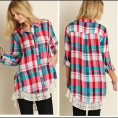 ALL ITEMS $25 Plaid button down features lace trim hem and 3/4 button sleeves. Price firm. Material is 65% cotton and 35% poly. Small bust measures 40 inches, length in front 30 inches, back 34. Medium bust 42 inches, length in front 30, back 35. Large bust about 44 inches, front 31, back 35. Tops Button Down Shirts