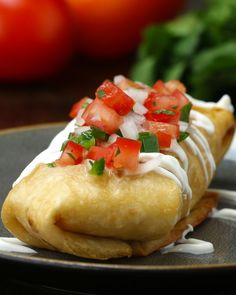 Creamy chicken chimichangas