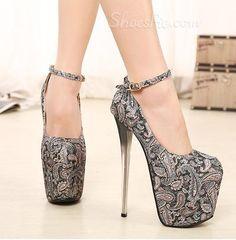 Flower Print Ankle Strap Platform High Heel Shoes