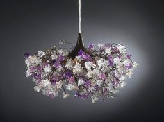 Hanging lamp - purple gray and clear flowers chandelier (430.00 USD) by yehudalight