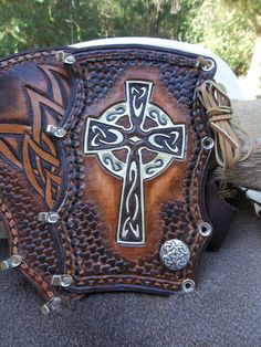 Hand Tooled Leather Bow Hunters Arm Guard by POPSLEATHERSHOP on Etsy