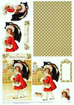 Noel friends snowman couverture par Sharon Poore Feuille A4 pour confection de carte de v/œux