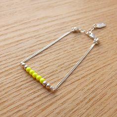 Neon / Argent 925 Bracelet - Yellow fluo de Natasha R. :  Bijoux en argent sur DaWanda.com