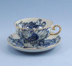 Vintage Tea Cup and Saucer Lomonosov Singing Garden Porcelain Cobalt Blue Gold Russian USSR