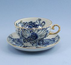 russian tea cups | Vintage Tea Cup and Saucer Lomonosov Singing Garden Porcelain Cobalt ...