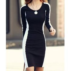 Trendy Long Sleeve Round Collar Color Block Pullover Dress For Women