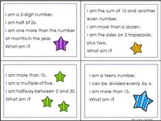 100 riddle cards for the numbers from 1 to 100 -  two digit addition and subtraction, place value, multiplication, division, area, perimeter, and more.   $