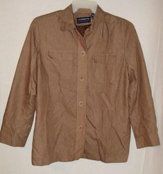 Liz Claiborne Liz Sport Womens Blazer Shirt Size Large Brown Pinstriped A70 #LizClaiborneLizSport #Blazershirt