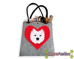 West Highland White Terrier Felt Tote. Handmade Westie Shoulder Bag. Long Handles. Dog Design. Everyday use. 4PawsFashion