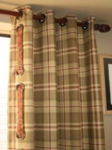 No Sew Grommet Drapery Panels are Quick and Easy To Make. The no sew grommet drapery was made with Sealah Tape, no sewing! Quick and easy to make no sew grommet drapery panels. There are many types of grommets for … Plaid Curtains, Window Drapes, Window Coverings, Drapes Curtains, Valances, Primitive Windows, Custom Curtains, Decorative Curtains, Custom Window Treatments