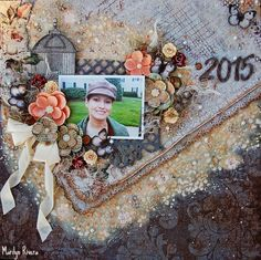 Marilyn Rivera- My Creative Scrapbook- April LE kit featuring: Prima Marketing, Blue Fern, Marion Smith.
