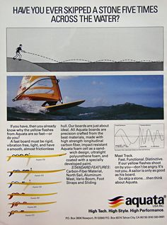 aquata windsurfing boards range ad 1984