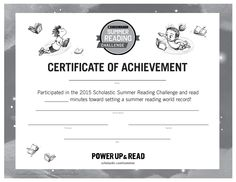 Certificate of Achievement | Summer Reading Challenge 2015. At the end of the summer, present this certificate to students to celebrate their reading achievements! #summerreading